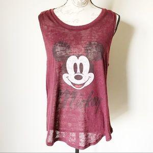 Disney Mickey Mouse Maroon Burnout Tank